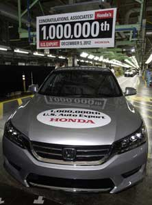 Honda Builds 1 Millionth Automobile For Export From U S  -